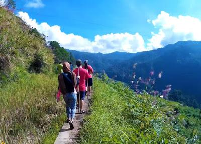 narrow pathway trek bomod-ok falls sagada