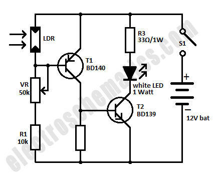 Schematic of Mini Emergency Light Circuit based LDR