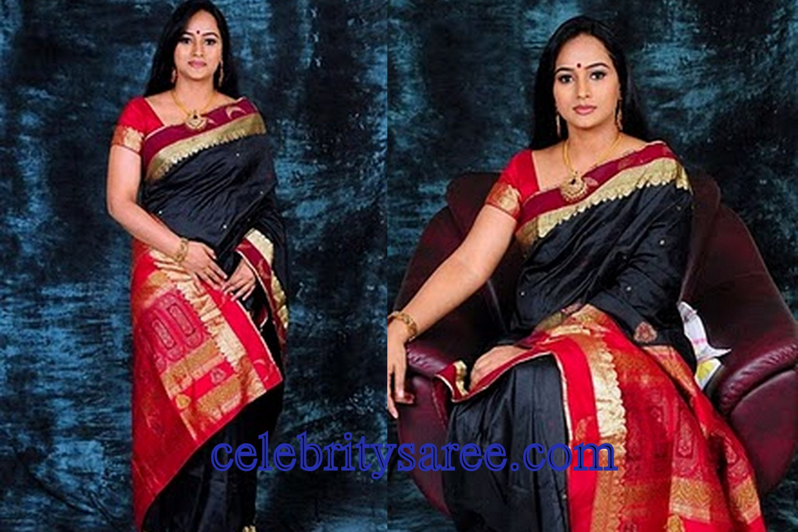 5ba99d585b7461 Mallu actress Anupama in black traditional raw silk sari embellished with  red background gold border gold dots all over saree paired with matching red  color ...