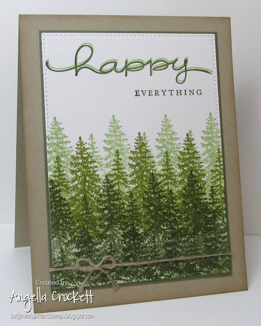 ODBD Custom Pierced Rectangles Dies, Stampin Up 'Happy Everything', Tree Stamp By Inkadinkado, Card Designed by Angie Crockett