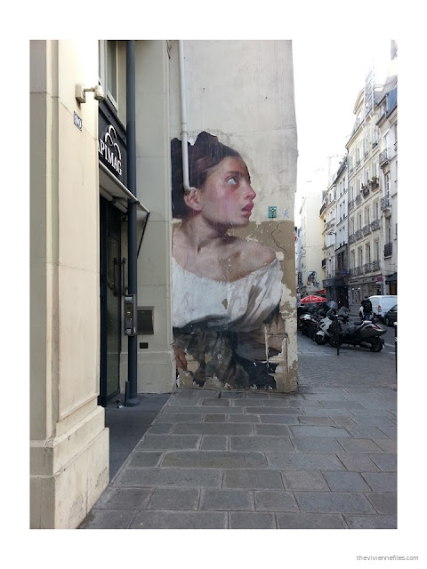 Paris street art woman from classical painting