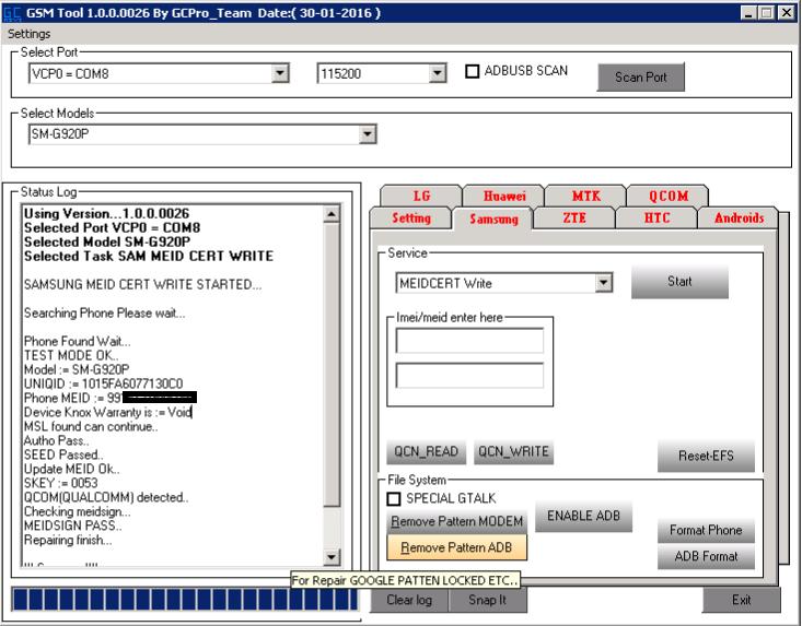 Repair Imei Write Cert Galaxy S6 G920P Sprint With GCProkey Box