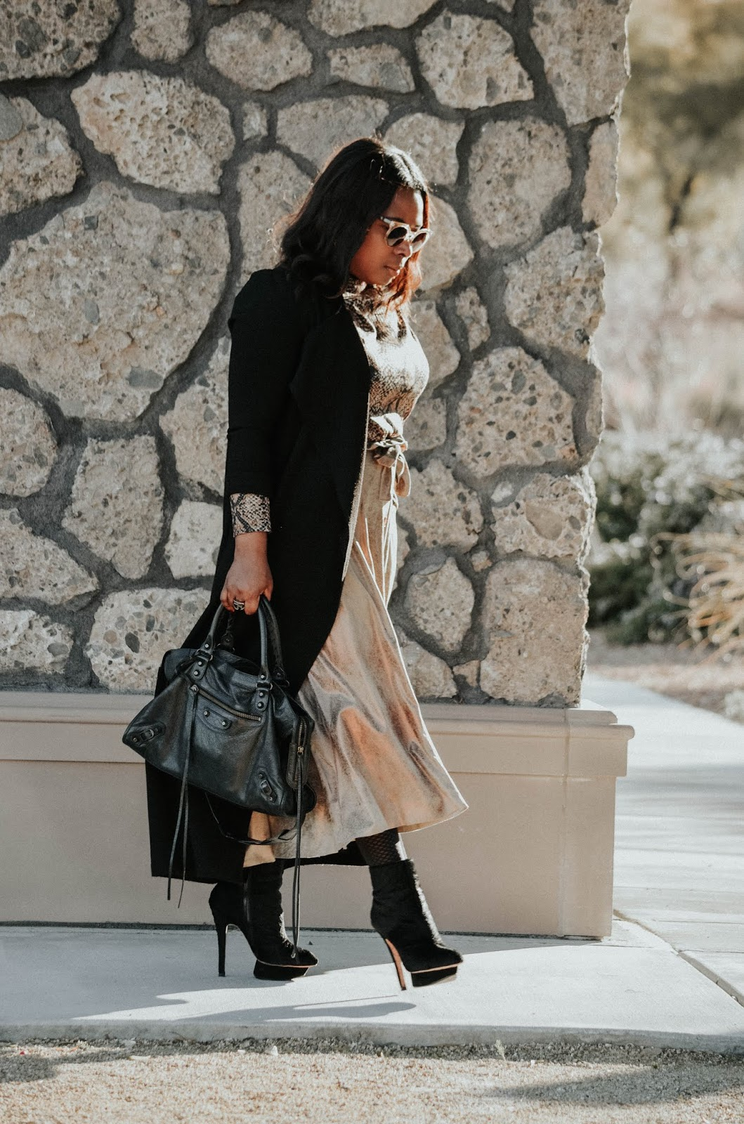 beckabellastyle-inspirations-zara-washed-metallic-finish-skirt-balenciaga-bags-lamb-ankle-booties