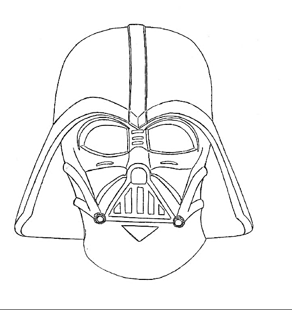 How To Draw Cartoon Darth Vader and coloring page