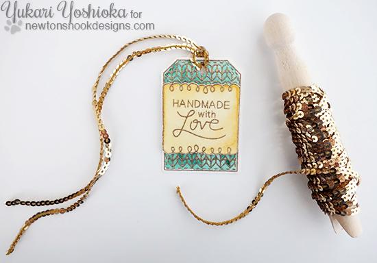 Handmade with Love Tag by Yukari Yoshioka   Tag Sampler stamp set by Newton's Nook Designs #newtonsnook