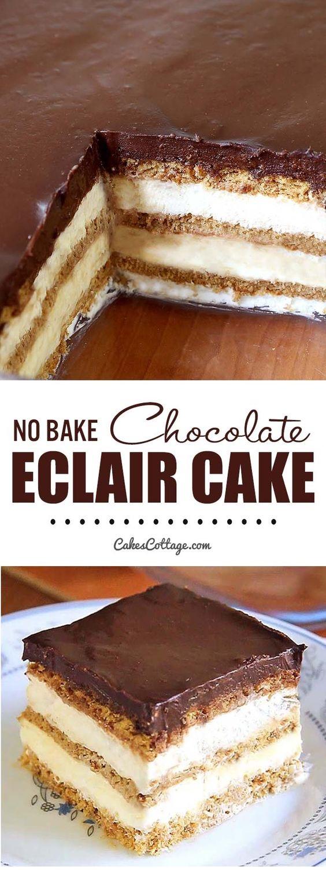 No Bake Chocolate Eclair Icebox Cake