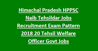 Himachal Pradesh HPPSC Naib Tehsildar Jobs Recruitment Exam Pattern 2018 20 Tehsil Welfare Officer Govt Jobs Online
