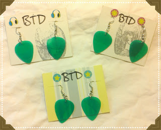 Vinyl guitar pick earrings