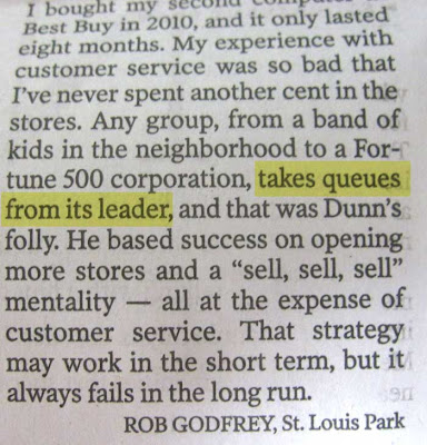 Letter to the editor text that says companies take their queues (should be cues) from their leaders