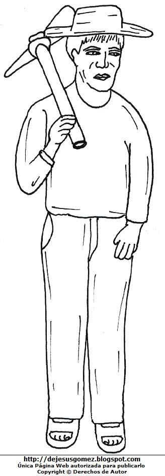 Dibujo de un campesino con sombrero para colorear o pintar por el Día del Campesino. Dibujo del campesino hecho por Jesus Gómez
