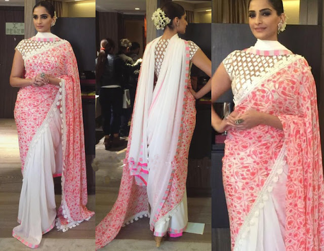 Sonam Kapoor Half and Half Saree at National Bravery Awards