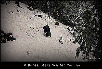 poncho hiking snow