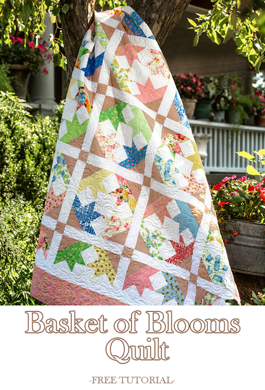 Basket of Blooms Quilt Free Tutorial designed by Jenny of Missouri Quilt Co