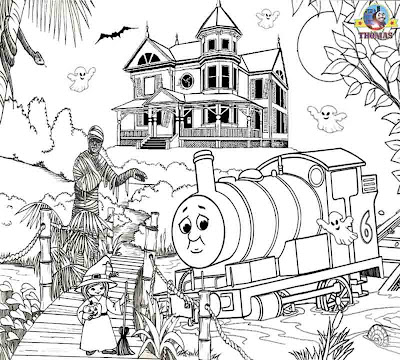 Thomas And Friends Halloween Coloring Pages