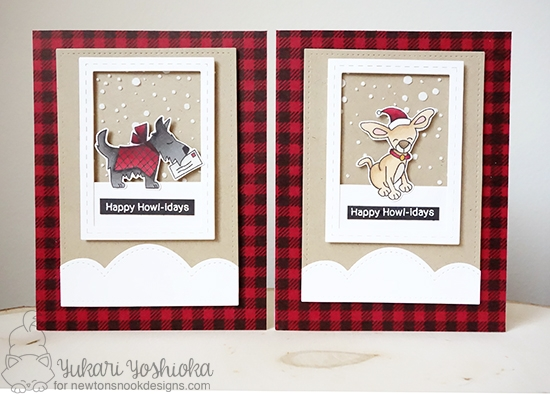 Inky Paws Challenge 37 - Plaid | Plaid Dog cards by Yukari Yoshioka | Canine Christmas Stamp set by Newton's Nook Designs