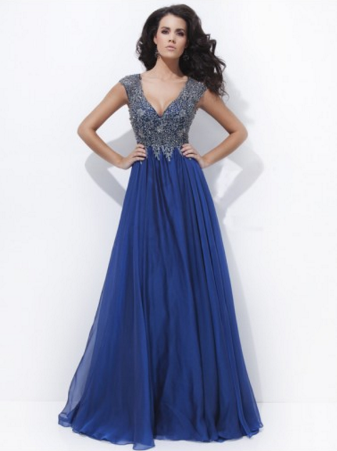 A-line V-neck Lace Prom Dresses/Evening Dresses