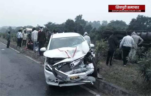 शिवपुरी में ADJ की कार ट्रक से टकराई,पत्नी,बेटा-बेटी सहित खुद हुए घायल | SHIVPURI NEWS