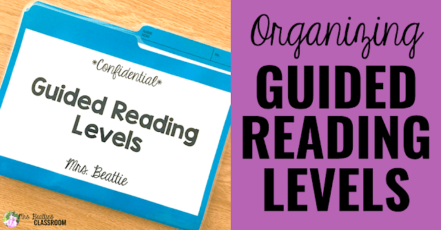 Image of folder that says Organizing Guided Reading Levels