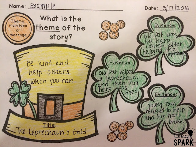 Free graphic organizer for teaching theme with any St. Patrick's Day picture book.  Students need to record the title, theme, and three pieces of evidence from the text to explain their thinking.