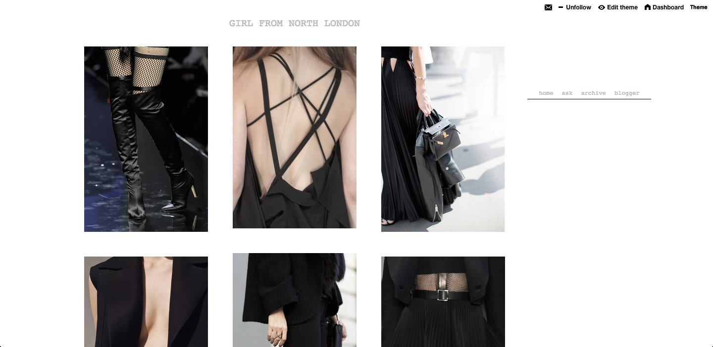 Fashion, Monochrome, Style, Chic, Tumblr, Blog, Girl From North London