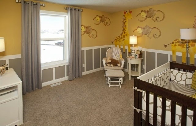 Cuartos de beb en amarillo y gris dormitorios colores y for Cortinas amarillas