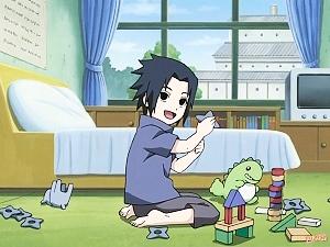 Dibujo de Sasuke Uchiha arrodillado en su cuarto