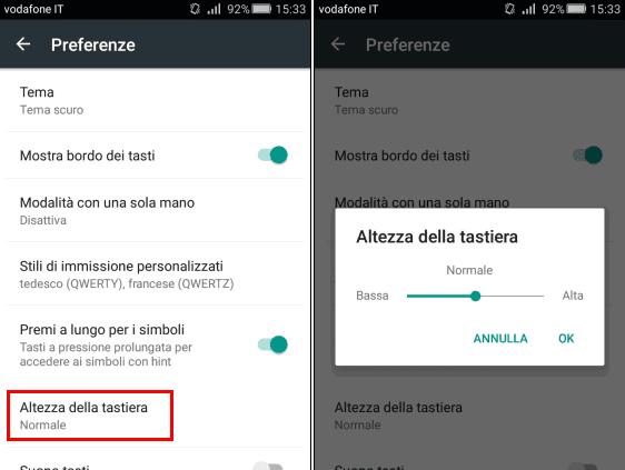 Modificare altezza della Tastiera Google di Android