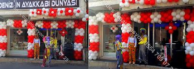 Bayraklıda bir açılış organizasyonunda balon süsleme hizmeti sunduk.