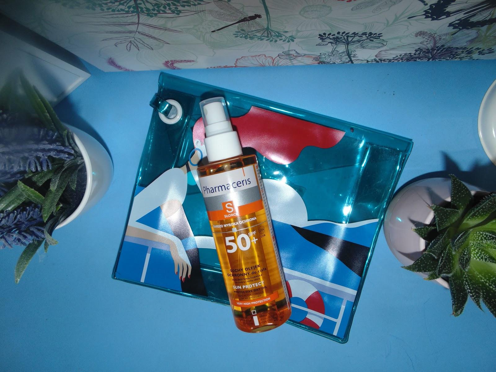 sephora kosmetyczka uchy olejek ochronny do ciała Pharmaceris z filtrem spf 50 + UVA I UVB z duo -aktywną formuła do suchej i mokrej skóry.