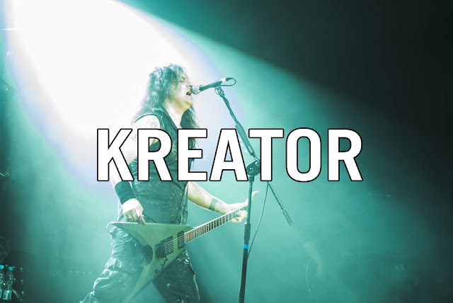 Kreator Mille petrozza guitarist playing in progresja, warsaw, poland