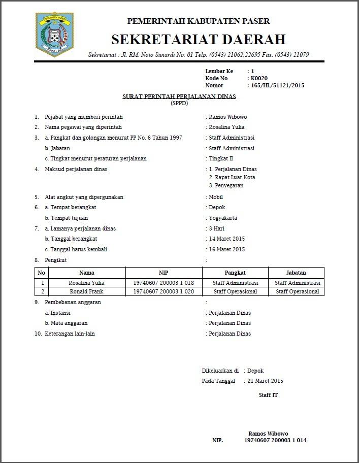 Contoh Surat Perjalanan Dinas Swasta