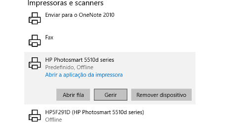 gerir impressora no windows 10