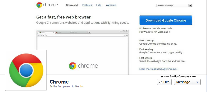 Facebook Fan Page of Chrome Browser