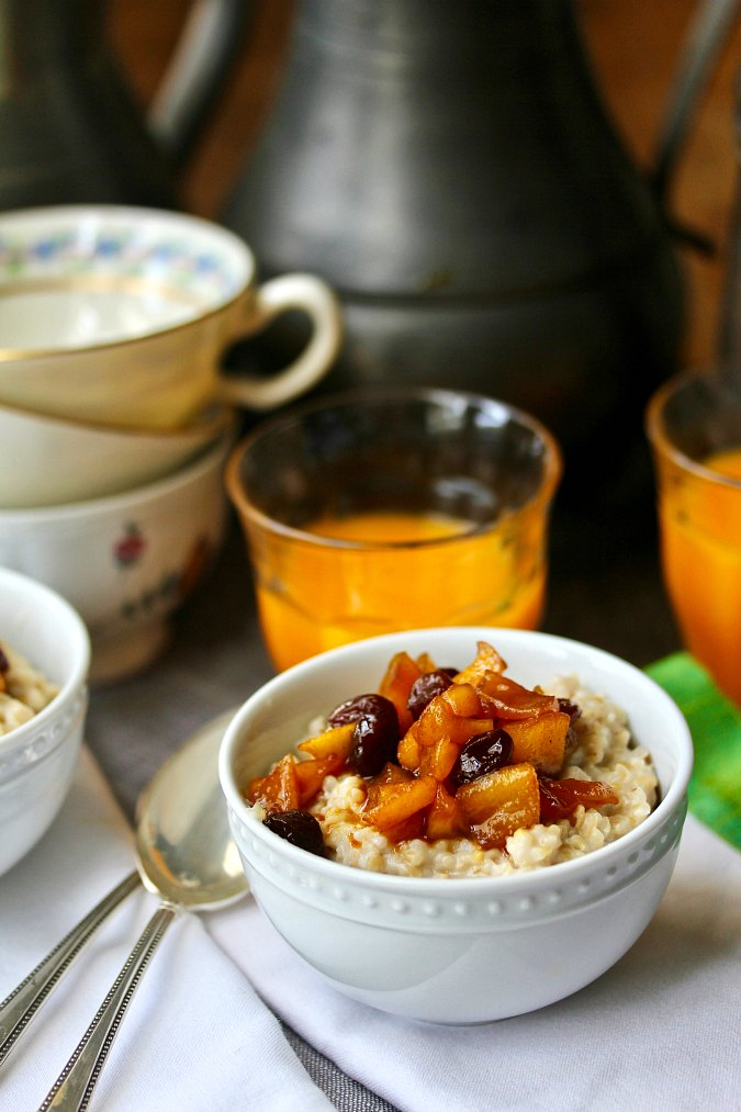 Creamy Steel Cut Oatmeal with Apple Raisin Compote made in the Instant Pot