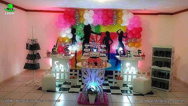 Decoração infantil tema Discoteca em mesa provençal
