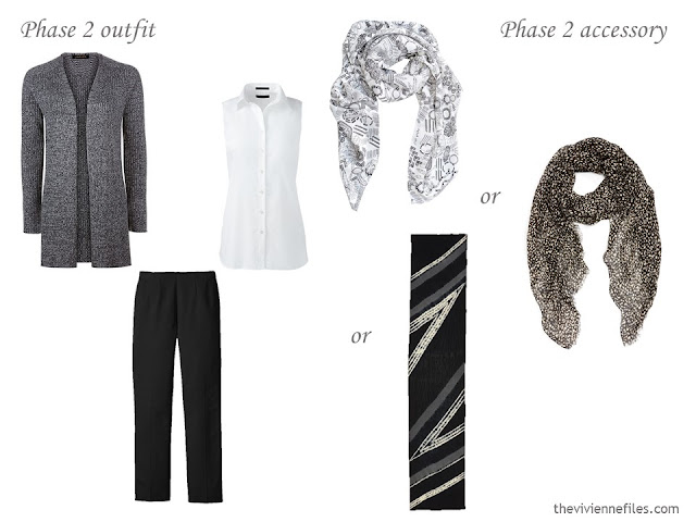 a choice of black and white scarves to wear with a travel outfit