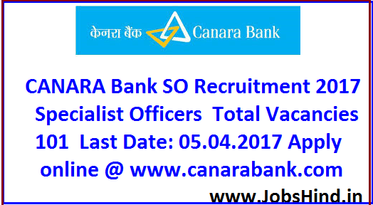 CANARA Bank SO Recruitment 2017