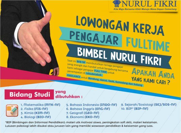 Lowongan Kerja Pengajar Full Time Nurul Fikri (BKB NF)