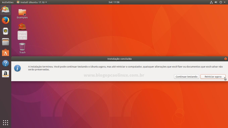 """Ubuntu instalado, clique em """"Reiniciar"""" para (obviamente) reiniciar o seu computador"""