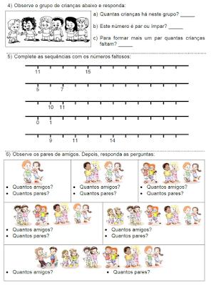 Atividades matemáticas: Antecessor e sucessor, números pares e ímpares, reta numérica