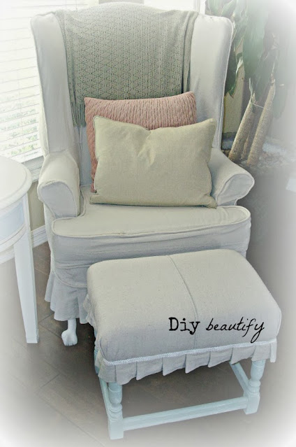 drop cloth to recover wing chair and footstool