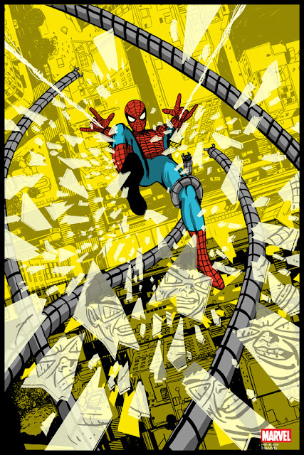 """Spider-Man vs Doctor Octopus"" Marvel Comics Regular Edition Screen Print by Raid71 x Grey Matter Art"