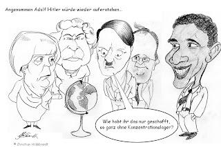 Christian Hildebrandt, Karikatur, globaler Faschismus, Angela Merkel, Hitler, Queen Elisabeth, Barack Obama, Hollande