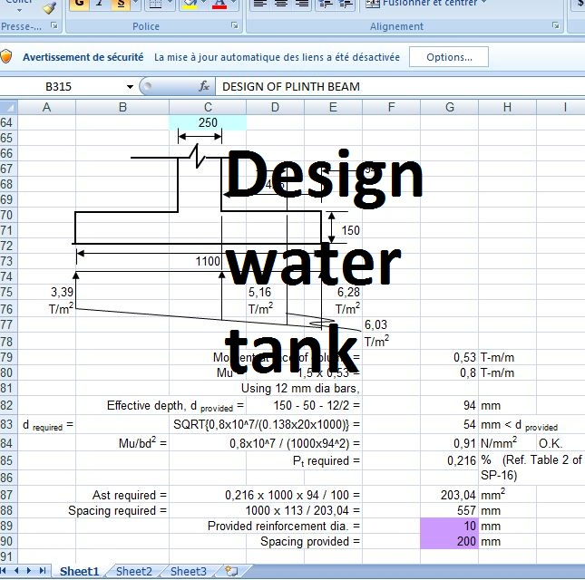 Design Water Tank Structure Excel Sheet Civil Engineering