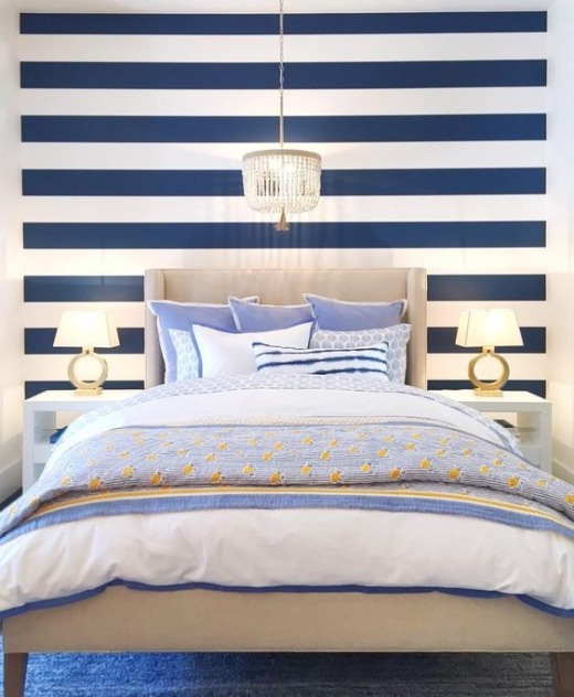 Modern Nautical Bedroom Design Idea with Stripe Wallpaper
