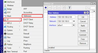 konfigurasi ip address melalui winbox