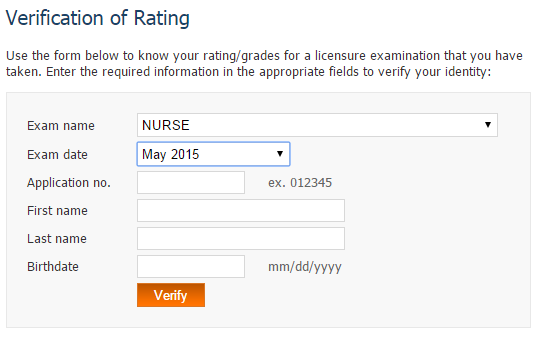 verification of ratings NLE May 2015