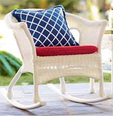 Easy Care Resin Wicker Rocker, in White