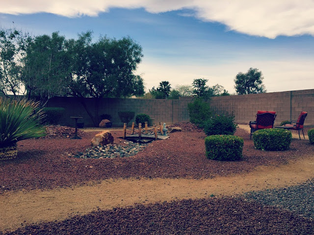 Backyard rock and desert landscaping.