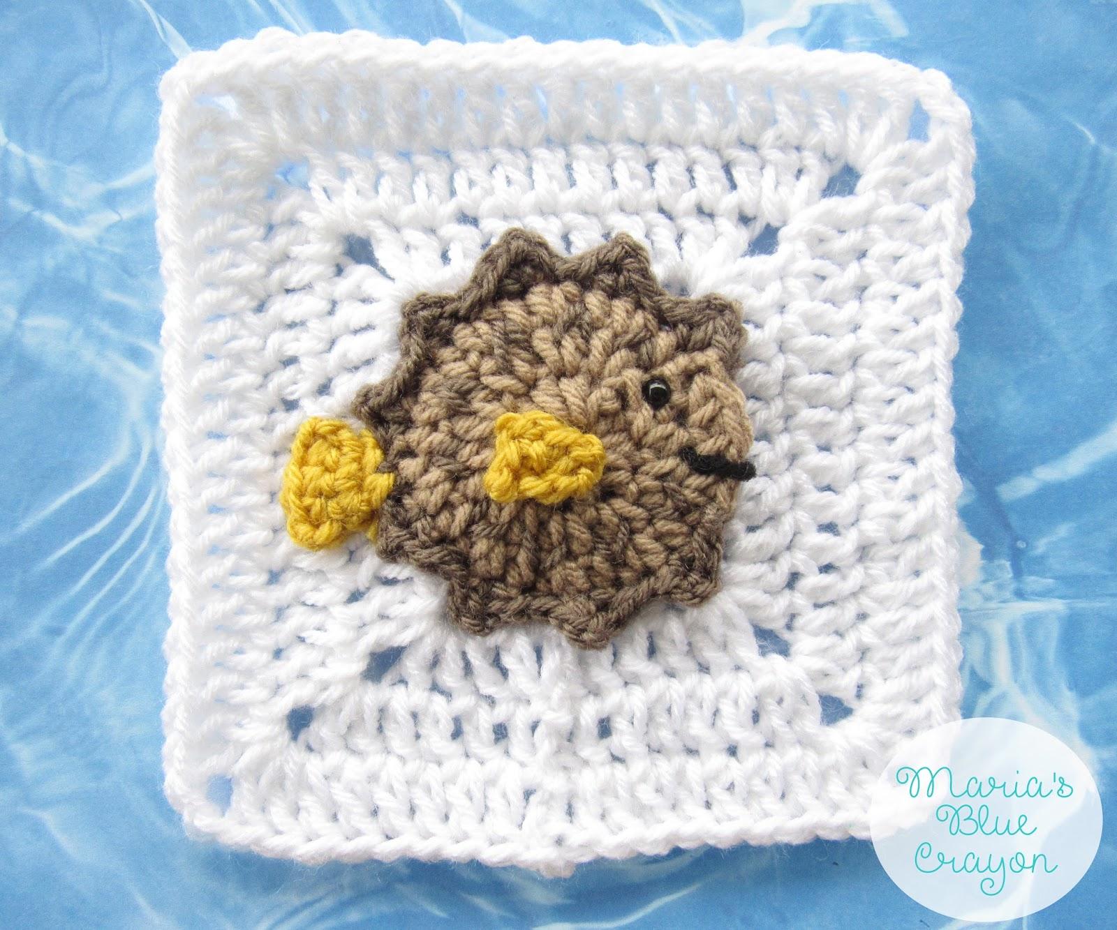 Crochet Puffer Fish Applique and Granny Square Free Crochet Pattern ...